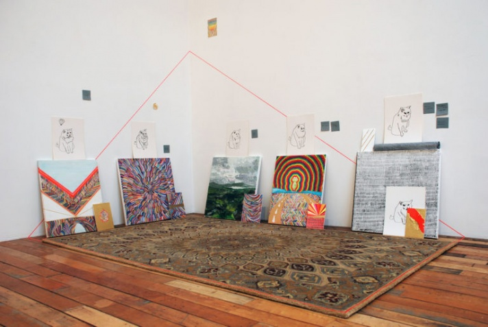 """Kate McGraw, """"Chouffe Mountain"""" (2013), mixed media paintings and drawings on canvas, panel and paper, wall-drawing, and rug showroom, New York (all images courtesy the artist)"""