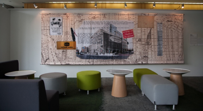 Rebhan's installation hangs in the lobby of 1200 First Street NE. Image courtesy of the artist.