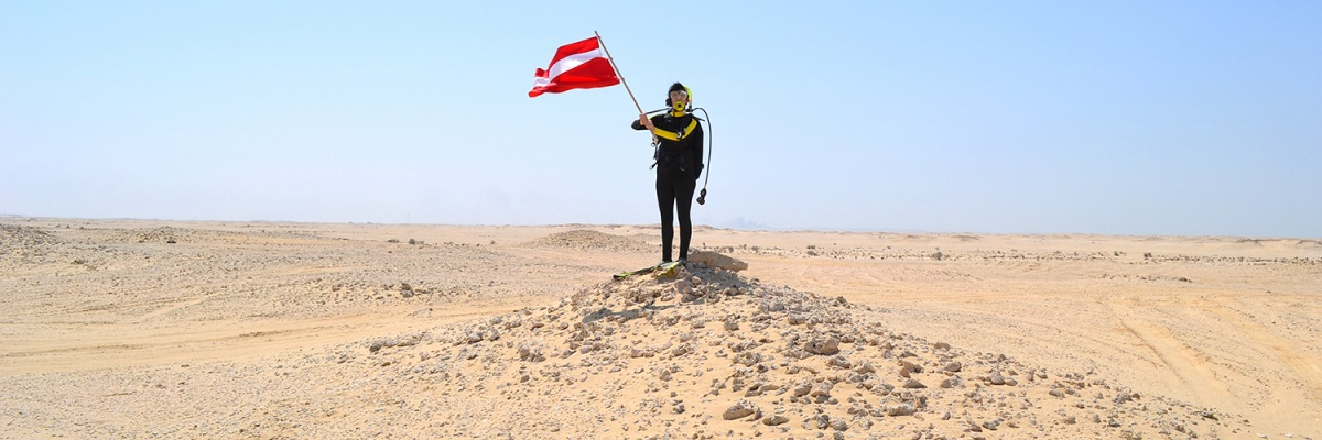 Hope Ginsburg, Breathing on Land: Zekreet, Qatar II (Land Dive Flag), 2015
