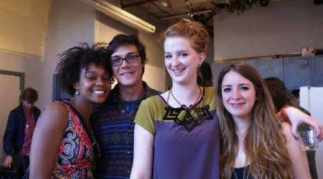 From left to right: Athena and Forrest Allread with 229Collective Founders Amy Braden and Emilia Olsen at the one-night-only pop up exhibition VULNERABLE, organized and curated by 229Collective