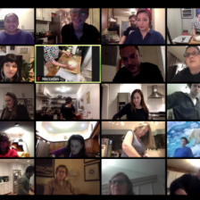 Screenshot from Zoom event with 114 participants from all over the world cooking arepas in their kitchens